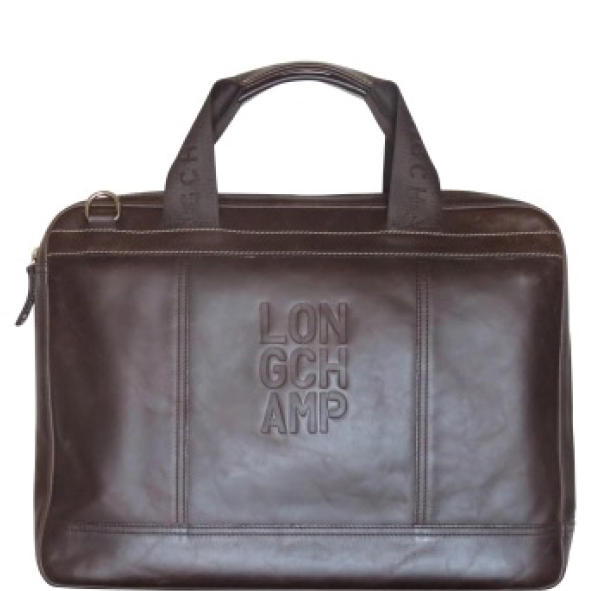 porte documents serviette Longchamp Homme Moka Marron