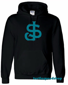 San Jose Sharkbite Hoodie Sweater BLACK Teal Sj Sharks