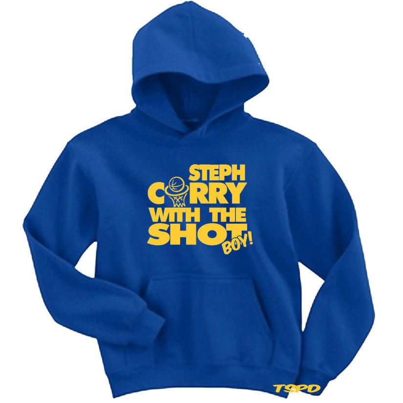Steph Curry With The Shot v2 Warriors Blue Yellow Hooded Sweater Golden State