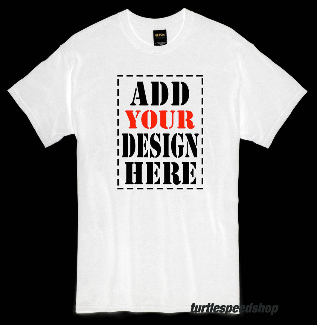 Custom WHITE T-Shirt with Your Own Photo Text Logo DTG Gildan Full-Color 13x15