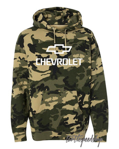 Chevrolet Logo White Forest Camo Hooded Sweatshirt 4x4 SS LS1