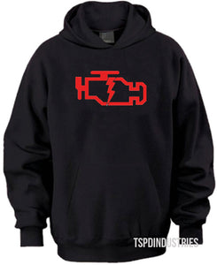 Check Engine Light CEL Black Red Hooded Sweatshirt