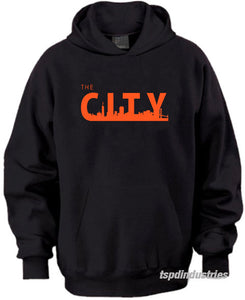 The City San Francisco Hooded Sweatshirt Giants SF Bay Area Black Orange