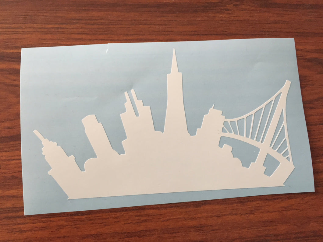 City Skyline SF Bay Bridge Decal Oracal Laptop Car