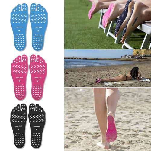 Barefoot Adhesive Foot Pads, Waterproof Anti-skid Invisible Beach Shoes, Stick on Foot Soles, Non Slip Yoga Socks, Summer Activities for Men Women and Kids