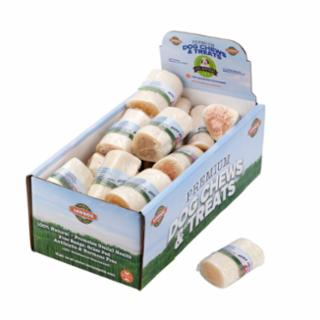 "WHITE BEEF BONE MEDIUM 3-4"" PEANUT BUTTER FILLED 25CT"