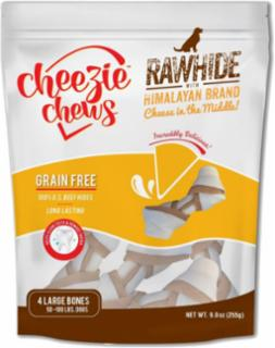 "Cheezie Chews Rawhide Knots w/Cheese 5-6"" - Large 4 pk"