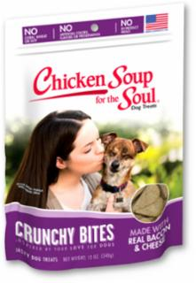 Chicken Soup for the Soul Crunchy Bites Bacon & Cheese Biscuit Dog Treats  8/12Z