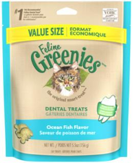 Greenies Feline Dental Treats Ocean Fish (Value Size) 5.5 oz.