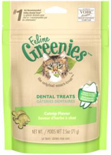 Greenies Feline Dental Treats Catnip 2.5 oz.