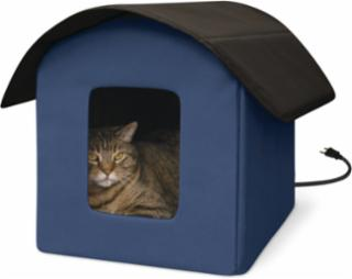 K&H Outdoor Kitty Barn Heated Navy Blue