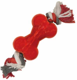 Ethical Play Strong Bone Mini W/Rope Red Dog Toy 3.5""