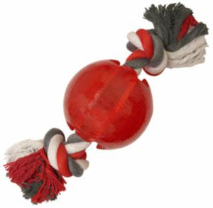 Ethical Play Strong Ball W/Rope Red Dog Toy 3.25""