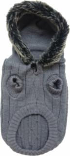 Ethical Fashion Pet Faux Fur Hooded Sweater Gray XSmall