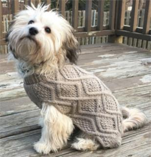 Ethical Fashion Pet Fisherman Sweater Taupe XSmall