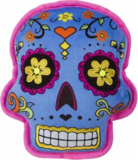 goDog Sugar Skulls with Chew Guard Technology Squeaker Dog Toy Large Blue