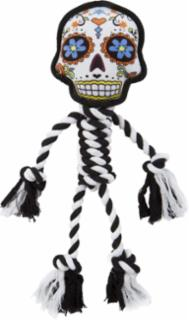goDog Sugar Skulls with Chew Guard Technology Rope Dog Toy Large White