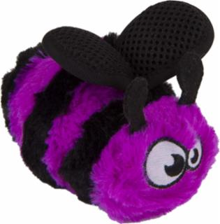 goDog Bugs Bee with Chew Guard Technology  Plush Squeaker Dog Toy Small Purple
