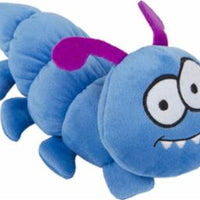 goDog Bugs Caterpillar with Chew Guard Technology Plush Squeaker Dog Toy Small Blue