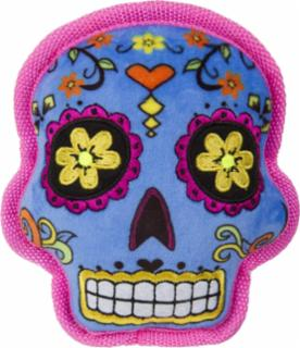 goDog Sugar Skulls with Chew Guard Technology Squeaker Dog Toy Small Blue