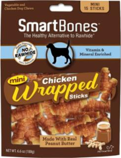 SmartBones Chicken Wrap Mini Sticks Peanut Butter 15 Pk