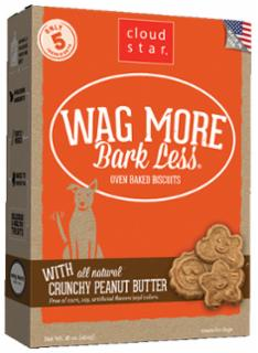Wag More Bark Less Original Oven Baked Treats with Crunchy Peanut Butter  16Z
