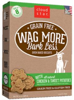 Wag More Bark Less Grain Free Oven Baked Treats with Chicken and Sweet Potatoes 14Z