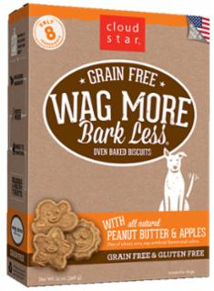 Wag More Bark Less Grain Free Oven Baked Treats with Peanut Butter and Apples  14Z
