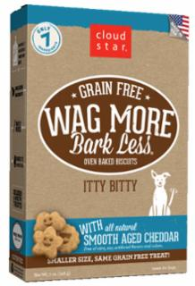 Wag More Bark Less Grain Free Itty Bitty Oven Baked Treats with Smooth Aged Cheddar 7Z