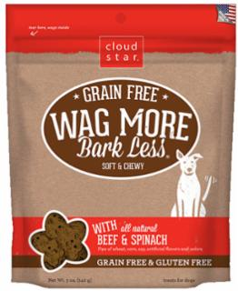 Wag More Bark Less Grain Free Soft & Chewy Treats with Beef & Spinach 5Z