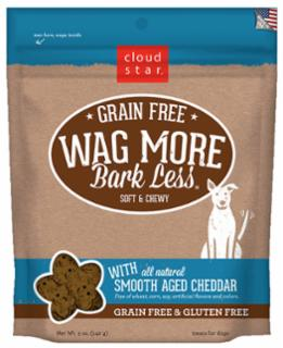 Wag More Bark Less Grain Free Soft & Chewy Treats with Smooth Aged Cheddar 5Z