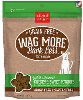 Wag More Bark Less Grain Free Soft & Chewy Treats with Chicken & Sweet Potato 5Z