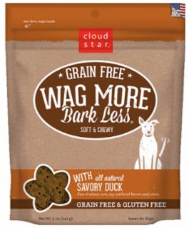 Wag More Bark Less Grain Free Soft & Chewy Treats with Savory Duck 5Z
