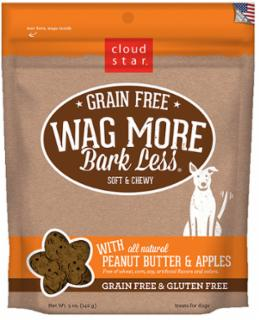 Wag More Bark Less Grain Free Soft & Chewy Treats with Peanut Butter & Apples 5Z