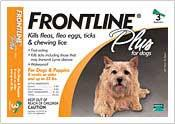 Frontline Plus Yellow Flea And Tick Treatment For Dogs 0-22 lb. 3 Month Supply