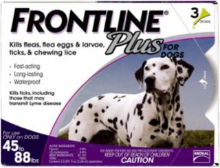 Frontline Plus Flea And Tick Treatment For Dogs 45-88 Pounds 3 Month Supply