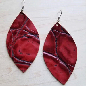 Leather Oval Earrings in Red Gator