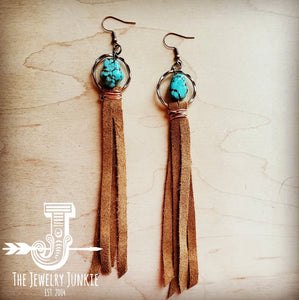 Turquoise Drop Earrings w/ Suede Leather Tassel