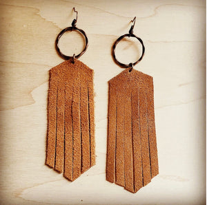 Suede Leather Fringe Earrings Tan