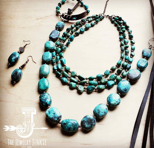 Triple Strand Natural Turquoise And Copper Collar Necklace