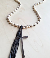 "Load image into Gallery viewer, 30"" Freshwater Pearl Crochet Necklace with Copper Cross & Tassel"