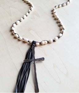 "30"" Freshwater Pearl Crochet Necklace with Copper Cross & Tassel"