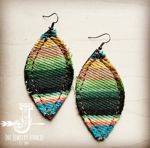 Frayed Serape Earrings w/ Suede Backing