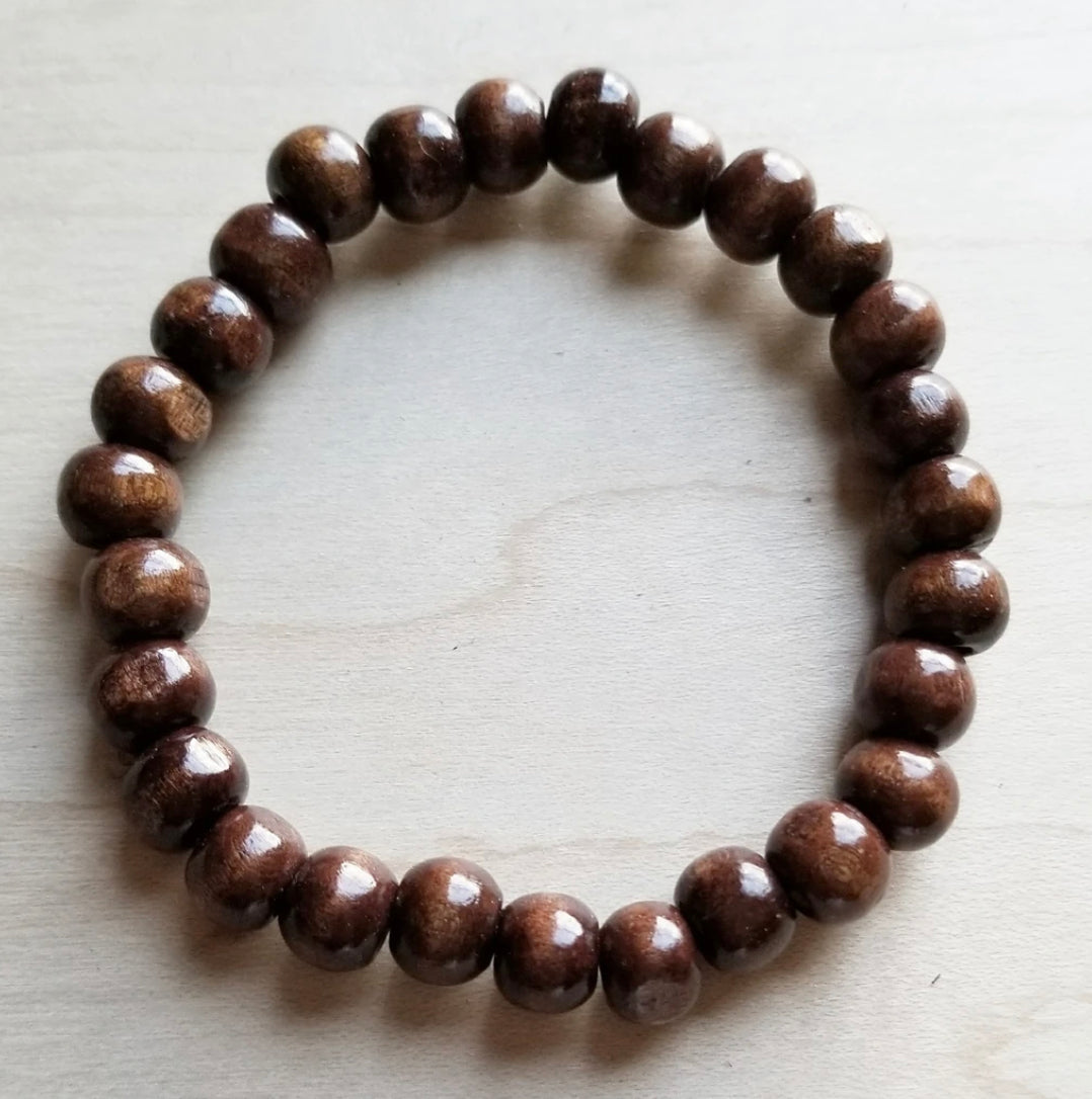 Bracelet Bar- Large Wood Beaded Stretch Bracelet