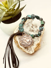 Load image into Gallery viewer, African Turquoise Bracelet with Indian Head Coin and Tassel