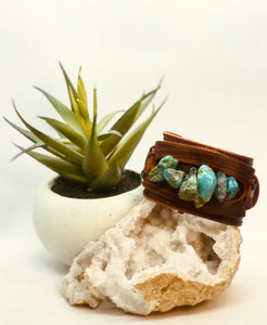 Dusty Leather Wide Cuff with Large Natural Turquoise Chunks
