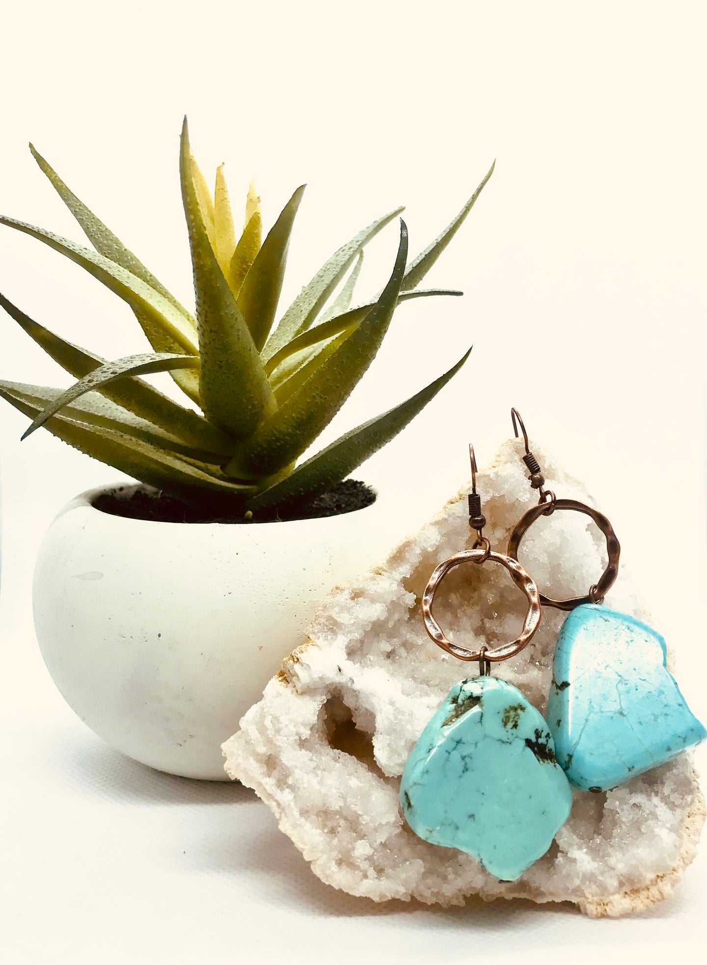 Blue Turquoise Chunky Earring