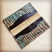 Load image into Gallery viewer, Turquoise & Browned Gator Wallet