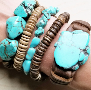 Blue Turquoise Slab Bracelet Narrow