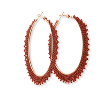 Load image into Gallery viewer, Maroon Gala Hoop Earring